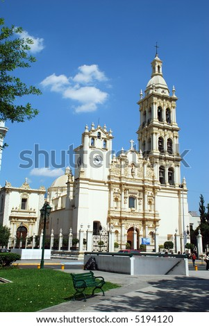 Monterrey, Nuevo Leon, Mexico Cathedral baroque design, begun in 1635.  and completed in 1800. still stands downtown in the 400 year old Monterrey, capital of the State of Nuevo Leon of Mexico. - stock photo