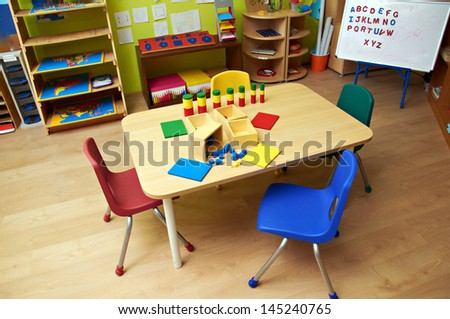 Montessori Kindergarten Preschool Classroom - stock photo