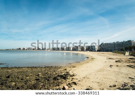 Montevideo beach and skyline on a sunny day - stock photo