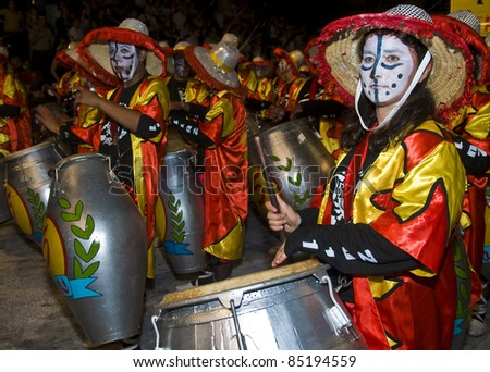 MONTEVIDEO, URUGUAY-FEB 5: Unidentified Candombe drummers participates in the annual national festival of Uruguay on February 05 2011 in Montevideo, Uruguay. Candombe is a drum-based musical style of Uruguay