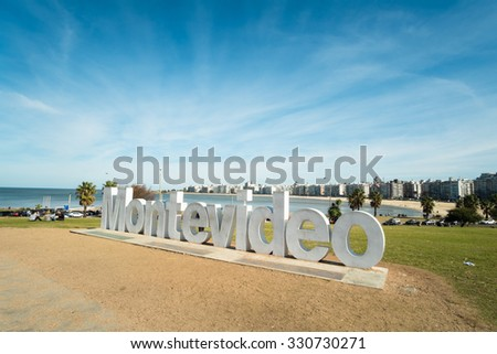 MONTEVIDEO, URUGUAY - JULY 26, 2015: Montevideo written in giant letters at the eastern city access - stock photo
