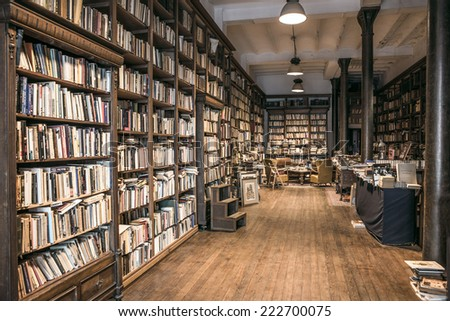 MONTEVIDEO, URUGUAY, OCTOBER 8 - Second-hand bookshop, which is still a lot in the old town, on October 8, 2014 in Montevideo, Uruguay - stock photo