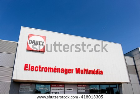 MONTEVRAIN, FRANCE - MAY 8, 2016: Darty store. Darty is a French company specialized stores selling home appliances, computer and audiovisual equipment.