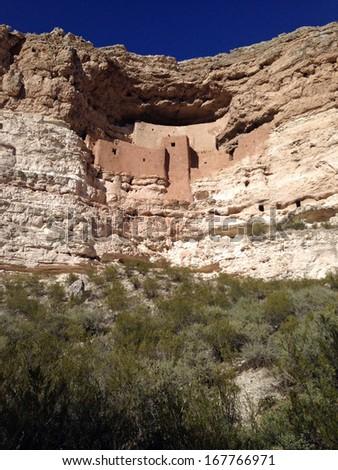 Montezuma Castle in Montezuma Castle National Monument in Arizona - stock photo