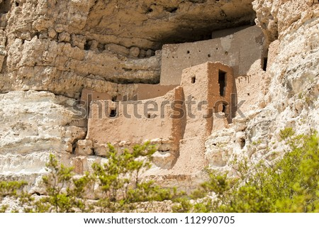 Montezuma castle Pueblo Village Indian Ruins, Arizona - stock photo