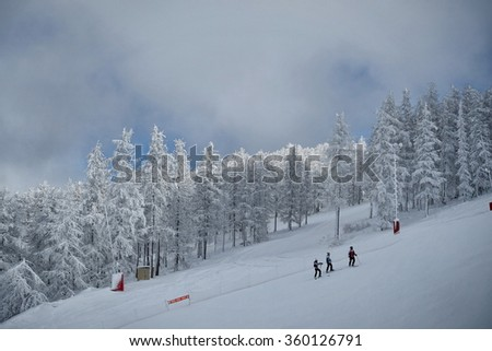 Montgenevre, France - January 5, 2016: Montgenevre ski resort in the Hautes Alpes