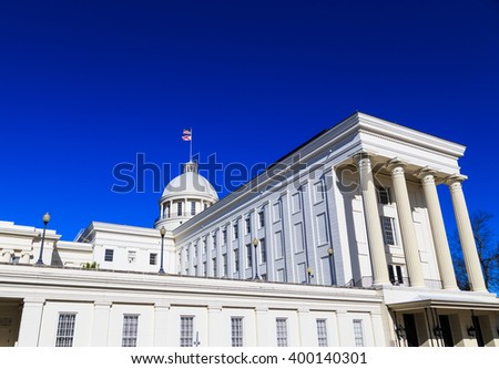 MONTGOMERY, ALABAMA - APRIL 3, 2016: Alabama State Capitol Rear Angle Rear angle perspective of the Alabama State Capitol with its grand columnar owning.