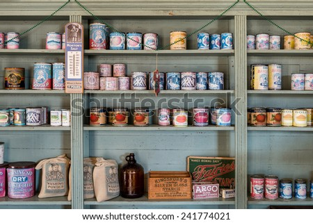 MONTGOMERY, ALABAMA - DECEMBER 4: Stocked shelves at David O'Leary's Corner Grocery on December 4, 2014 in Montgomery, Alabama - stock photo