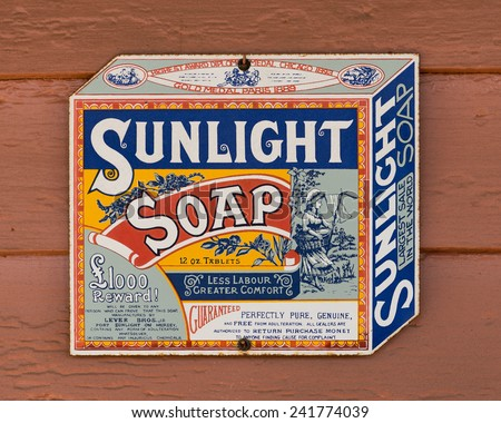 MONTGOMERY, ALABAMA - DECEMBER 4: Sunlight Soap sign in Old Alabama Town on December 4, 2014 in Montgomery, Alabama - stock photo