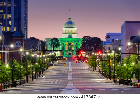 Montgomery, Alabama, USA with the State Capitol. - stock photo