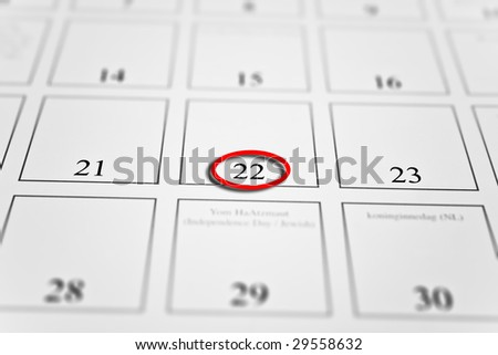 month calendar with focus on day 22 - stock photo