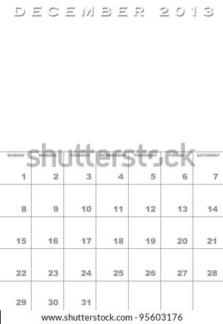 Month December 2013 Calendar Template Background Stock Illustration