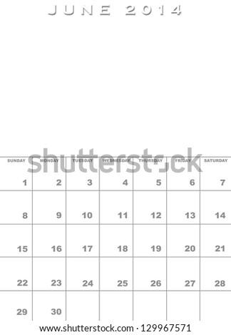 Month July 2013 Calendar Template Background Stock Illustration