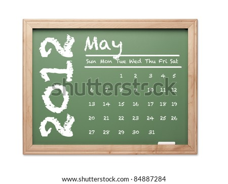 Month of May 2012 Calendar on Green Chalkboard Over White Background.