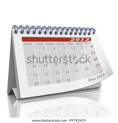Month of May desktop Organizer on a white background with a page curl on the top page - stock photo