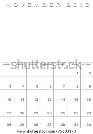 Month of November 2013 calendar template background with space for images - stock photo