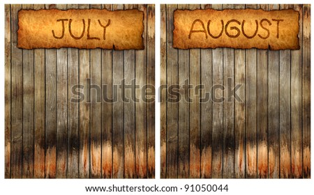 Month on old paper wood background for 2013 Calendar