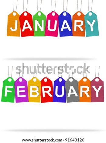 Month on tags with Corrugated paper craft on white background