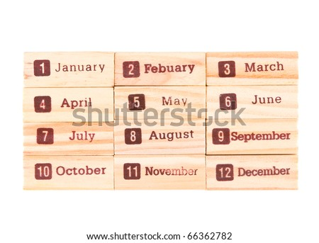 Month words print on wood texture, twelve months in one year. - stock photo