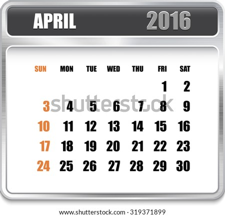 Monthly calendar for April 2016 on metallic plate, orange holidays. Can be used for business and office calendars, website design, prints etc.