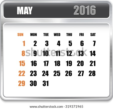 Monthly calendar for May 2016 on metallic plate, orange holidays. Can be used for business and office calendars, website design, prints etc.