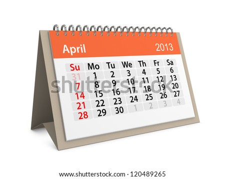 Monthly calendar for New Year 2013. April. - stock photo