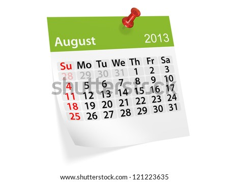Monthly calendar for New Year 2013. August. - stock photo