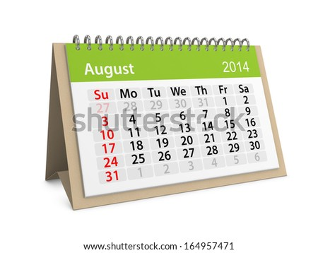 Monthly calendar for New Year 2014. August. - stock photo
