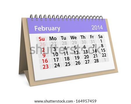 Monthly calendar for New Year 2014. February.