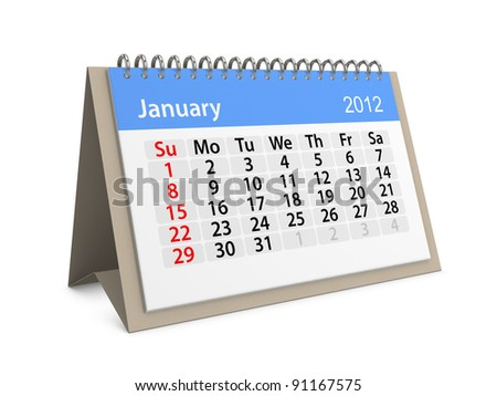 Monthly calendar for New Year 2012. January. - stock photo