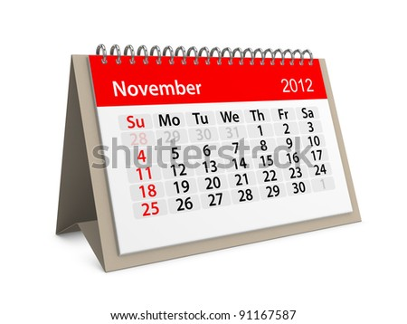 Monthly calendar for New Year 2012. November. - stock photo