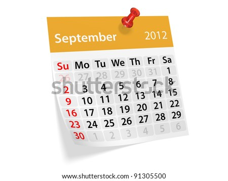 Monthly calendar for New Year 2012. September. - stock photo