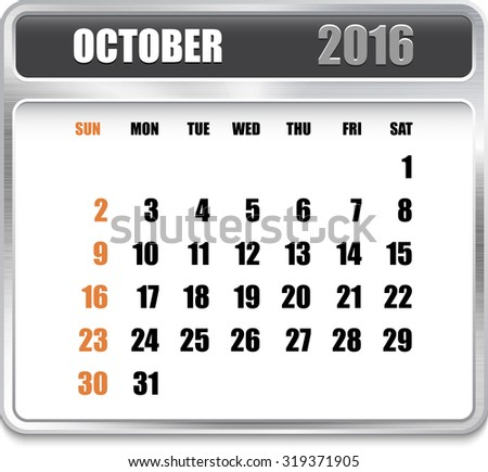 Monthly calendar for October 2016 on metallic plate, orange holidays. Can be used for business and office calendars, website design, prints etc.