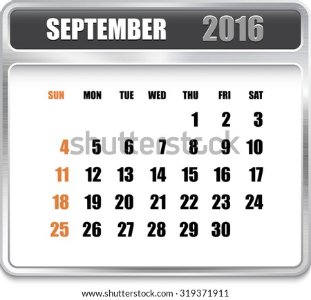 Monthly calendar for September 2016 on metallic plate, orange holidays. Can be used for business and office calendars, website design, prints etc.