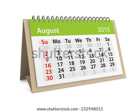 Monthly calendar for year 2015. August - stock photo
