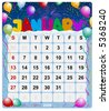 Monthly calendar January - stock vector