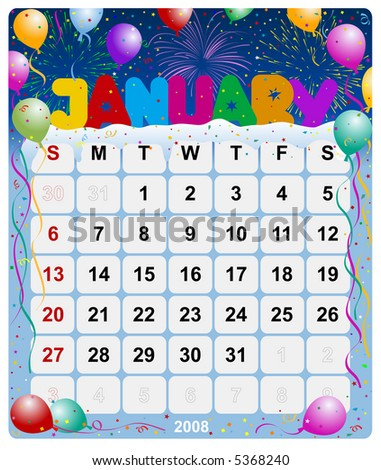 Monthly calendar January - stock photo