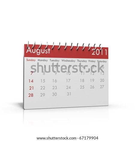 Monthly calendar of August 2011 with spiral on top - stock photo