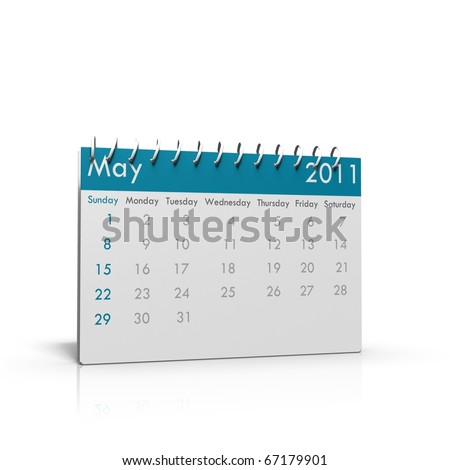 Monthly calendar of May 2011 with spiral on top - stock photo