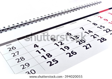 Monthly calendar with dates and numbers - stock photo