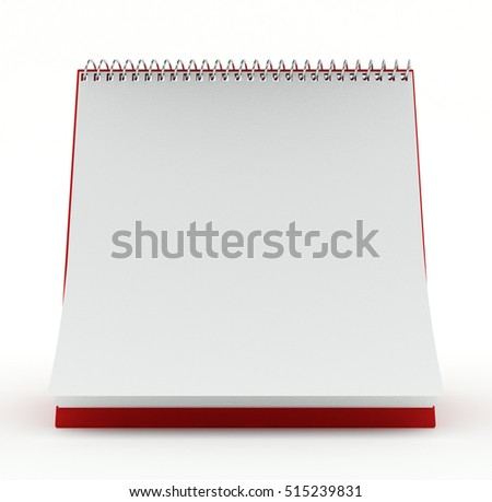 Monthly calendar with empty blank page with copy space on white background. 3d illustration.