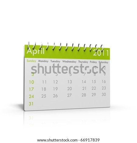 Monthly calender of April 2011 with spiral on top - stock photo