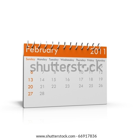 Monthly calender of February 2011 with spiral on top - stock photo