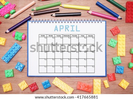 monthly planner. april - stock photo