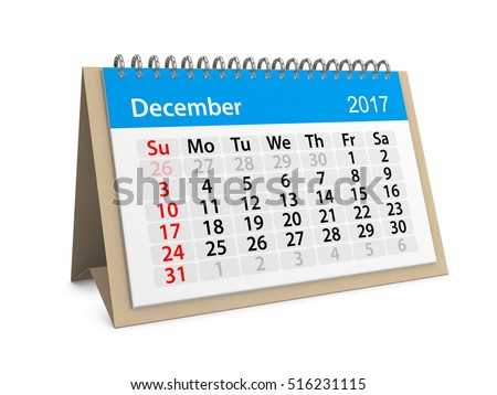 Monthly table calendar for December 2017. Colorful cardboard table calendar for December 2017. Table calendar series. 3d illustration