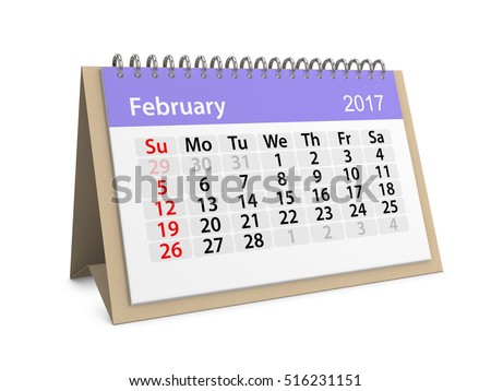 Monthly table calendar for February 2017. Colorful cardboard table calendar for February 2017. Table calendar series. 3d illustration