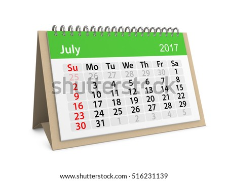Monthly table calendar for July 2017. Colorful cardboard table calendar for July 2017. Table calendar series. 3d illustration
