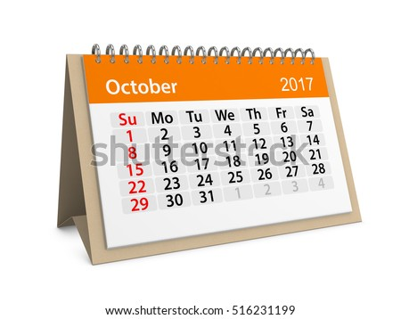 Monthly table calendar for October 2017. Colorful cardboard table calendar for October 2017. Table calendar series. 3d illustration