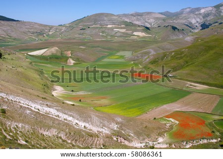 Monti Sibillini National Park, Umbrie, Italy - stock photo