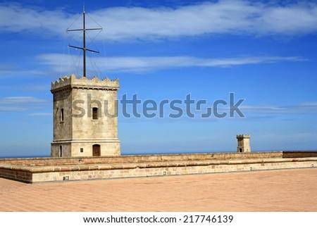 Montjuic castle in Barcelona - stock photo